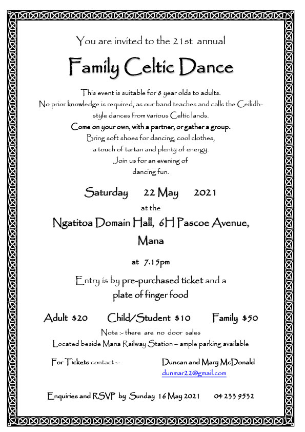 Family Celtic Dance @ Ngatitoa Domain Hall | Porirua | Wellington | New Zealand